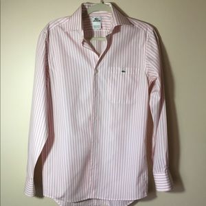 Lacoste pink striped shirt, like new.